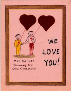 My father made this card for my sister and me. I am not sure of the year.
