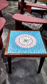 Another mosaic table my father made.  Photo taken 2014