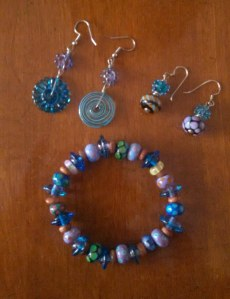 Bracelet and earrings I made.  Photo, July 2014