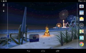Beach scene and carnival, Android tablet. August 2014